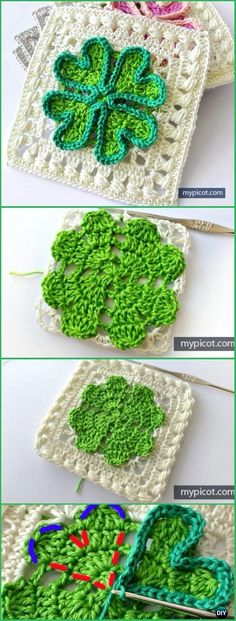 Crochet Four-leaf Clover Granny Square Free Pattern - Crochet Granny Square Free Patterns