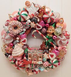 Christmas Ornament Wreath with Vintage Knee Hugger Elves, Gingerbread Men and Candy Ornaments in Pinks, Red and White