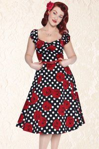 Collectif Clothing Dolores Floral Polka Swing Dress 102 14 14351 20141206 0016ModelA