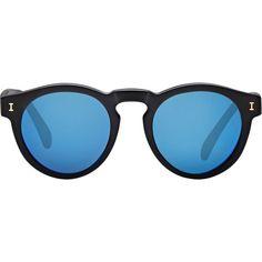 Illesteva Leonard Sunglasses (€155) ❤ liked on Polyvore featuring accessories, eyewear, sunglasses, glasses, black, round sunglasses, black sunglasses, matte lens sunglasses, mirrored sunglasses and black mirror sunglasses