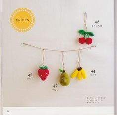 FREE Mini Cherry, Strawberry, Pear and Banana Amigurumi Crochet Pattern and Tutorial (click on right arrow to get to free chart)