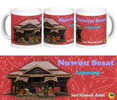 Mug Keramik tema seni budaya Indonesia, edisi khusus rumah adat Nuwou Sesat, Lampung    Cocok buat hadiah / souvenir etnik nusantara.