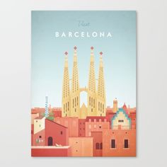 Vintage style travel poster of Barcelona and Gaudi's Sagrada Familia. Text reads Visit Barcelona. Original hand drawn and digitally rendered illustration by Henry Rivers of Travel Poster Co.<br/> <br/> Vintage Travel Poster, Barcelona, Travel Poster, Spain, Catalonia, Gaudi, Vintage Poster, Europe, Vintage, Architecture, Sagrada Familia, Cathedral