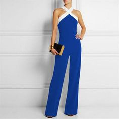 da2e3232f27e 2017 Autumn Sexy Women Off Shoulder Long Playsuits Elegant Bodycon Halter  Neck Backless Jumpsuit Overalls OL Business Rompers