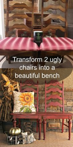 Transform two ugly garage sale chairs into a beautiful bench for less than $20.00.