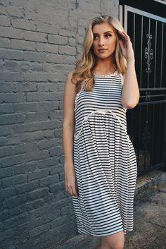 b168acac3dddf Flowy Black and White Striped Dress – Deep South Pout Fit Back