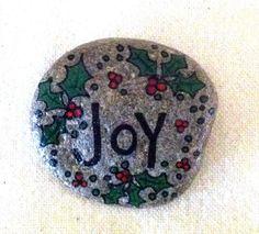 Happy Rock - Joy - Hand-Painted River Rock - Christmas