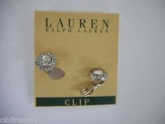 Lauren Ralph Lauren Faceted Stone Clip-On Earrings Broken Clip