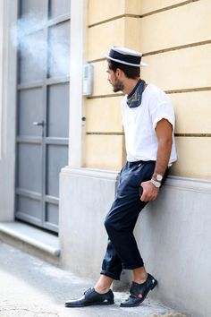 5e0a35eac8d1d7 Men's Hats - Reviving Style · The men's boater: Giotto Calendoli in Milan  Mens Fashion Blog, Boy Fashion, Mens