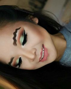 Would you try the squiggly lips look? promise says she began by using washable pva glue to flatten her hair in one direction before Natural Eyeshadow, Eyeshadow Makeup, Eyeshadow Palette, Eyeshadows, Gray Eyeshadow, Sparkly Eyeshadow, Using Concealer, Dramatic Makeup, Fun Makeup