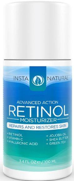 InstaNatural Retinol Feuchtigkeitscreme Creme - mit 2,5% Retinol, Vitamin C 10%, Vegan Hyaluronsäure, Sheabutter & Jojobaöl; 3.4 OZ (100 ml)
