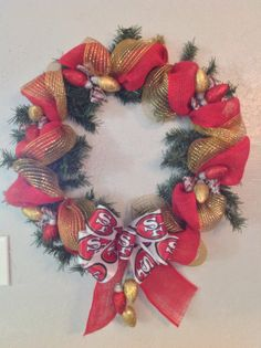 49er Red & Gold Christmas Wreath by MyAngelicBowtique on Etsy, $42.00