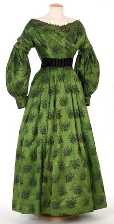 1830s extant gown, gorgeous acid green silk