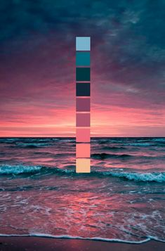 Sonnenuntergang am Meer // Farbschema // Meer, Wellen, rosa Sonnenuntergang Sunset at the sea // color scheme // sea, waves, pink sunset Colour Pallette, Colour Schemes, Sunset Color Palette, Color Combos, Orange Color Palettes, Maroon Color Palette, Lavender Color Scheme, Beach Color Schemes, Beach Color Palettes