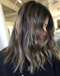 Long Wavy Ash-Brown Balayage - 20 Light Brown Hair Color Ideas for Your New Look - The Trending Hairstyle Brown Hair Balayage, Brown Blonde Hair, Brown Hair With Highlights, Light Brown Hair, Brunette Hair, Bayalage, Balayage Highlights, Ombre Hair Color, Brown Hair Colors