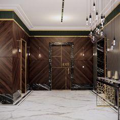 Original interior concept for the foyer Interior Concept, Interior Design, Veneer Panels, Level 5, Calacatta, Walnut Veneer, Polished Brass, Door Design, Foyer