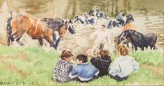 "Lot 391, Juliet Jeffrey, watercolour, signed, children on a river bank with figures and horses in a river, signed 5"" x 9 1/2"" est £50-100"