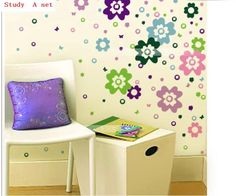 Free shipping 14.5cm*14.5cm 1set=96 flowers, Colorful flowers Wall Stickers Car living room Background US $3.59