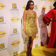 """Miss Teen USA Logan West sparkles as she matches the """"yellow carpet"""" at the annual Project Sunshine Gala. Re-pin if you love her glamorous cocktail dress! #fashion"""