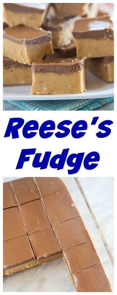 Reese's Fudge – a layer of creamy peanut butter fudge topped with melted chocolate and peanut butter. And easy no bake recipe that is down right addicting! (no cook fudge recipes) Peanut Butter Recipes, Creamy Peanut Butter, Fudge Recipes, Candy Recipes, Sweet Recipes, Dessert Recipes, Oreo Desserts, Reese Fudge Recipe, Holiday Desserts