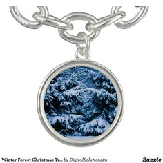 Winter Forest Christmas Tree Charm Bracelet