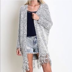 Oversized Slouchy  Marled Cuddly Cardigan Nwt fringe detail gray combo with dolman sleeves super soft and fabulous . S/M open style so can even fit a large Vivacouture Sweaters Cardigans