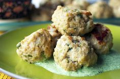 Middle Eastern Lamb Meatballs with Cilantro Mint Sauce