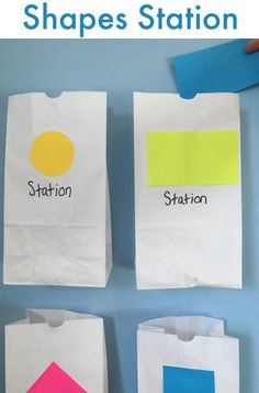 Make a SHAPES train station! Fun activity for preschoolers and toddlers to practice their shapes!