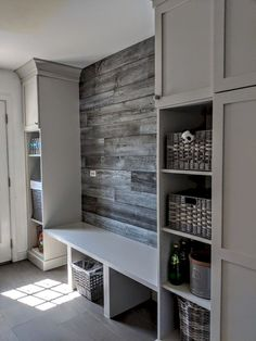 Laundry room design or modern farmhouse mudroom design Mudroom Storage Bench, Mudroom Laundry Room, Laundry Room Design, Bench With Storage, Mudroom Benches, Storage Ideas, Hallway Storage, Mudrooms With Laundry, Mud Room Lockers