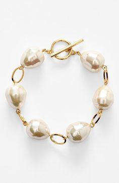 Lauren Ralph Lauren Faux Pearl Toggle Bracelet available at #Nordstrom