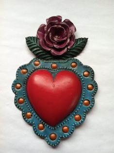 Dos Mujeres Mexican Folk Art - Tin Corazon With Rose
