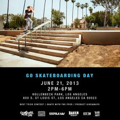 Join the SUPRA team and friends for Go Skateboarding Day this Friday, June 21st, 2PM at Hollenbeck Park. 600 S. St. Louis Street, Los Angeles, CA 90023.
