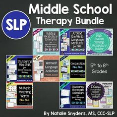 SLPs, have you just been assigned to a middle school placement for the first time?  Or perhaps you have been in a middle school setting, but need new speech-language therapy ideas?This giant 460 page bundle is exactly what you need!  The nine items included in this bundle will allow you to target a wide variety language and fluency goals, including vocabulary, synonyms, multiple meaning words, conjunctions, fluency enhancing strategies, stuttering education, comparing/contrasting…