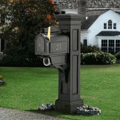Mayne Liberty 4 x 4 Black Polymer Mailbox Post at Lowe's. Create a striking, distinctive look with the Mayne Liberty Mail Post. Mayne's Mail Posts are crafted from high grade polyethylene for Black Mailbox, Large Mailbox, Mailbox Post, Mailbox Stand, Diy Mailbox, Rural Mailbox Ideas, Modern Mailbox, Diy Letter Boxes, Residential Mailboxes