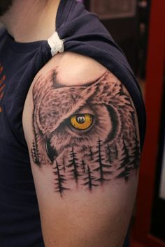 Owl, trees tattoo