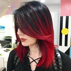 Hot red ombre hair trends for girls - Hair - Hair Styles Hair Color Highlights, Red Hair Color, Hair Colors, Color Red, Black Hair Red Highlights, Hair Color Ideas For Black Hair, Red Hair Tips, Bright Highlights, Brown Colors