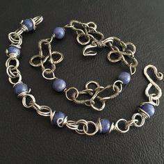 hand made silver wire gemstone bracelet by BLLstudio