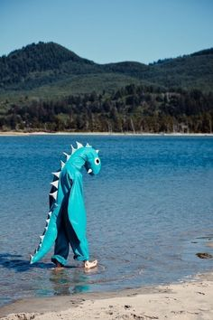 dino, water, lonely, walk