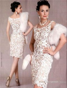 Beautiful lace dress (motif apliques) with diagrams, this is all about being creative