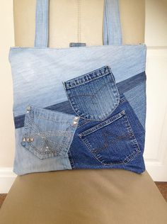 Denim Tote Bag Jeans Tote Bag Upcycled Denim Bag Upcycled