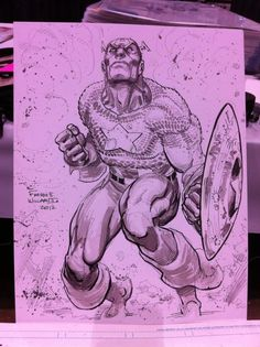 Freddie E. Williams II posted a sketch of Captain America