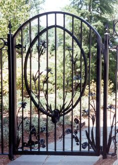 English Garden Gate | Hand Forged Garden Gate with Sweet Pea Vines and Iris Flower ...
