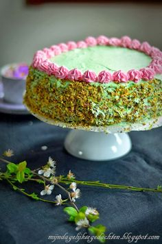 mijn dagelijkse gedachten: Pistachio Layered Cake (flour less, light) / Фисташковый Торт (без муки, легкий)