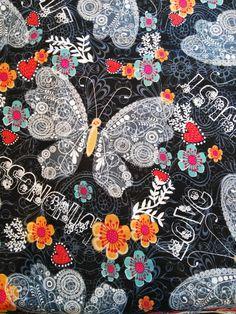 Tela de algodón estampado con mariposas - Black Butterfly de Quilting Treasures de TelasAndDiy en Etsy