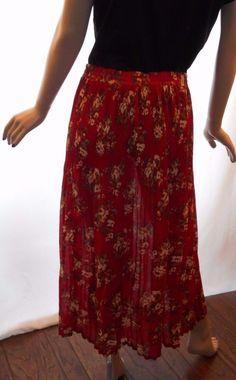 $12.79 & Free Shipping! Sag Harbor Woman Size 2X Lovely Red Floral Maxi Skirt #SagHarborWoman #FullSkirt