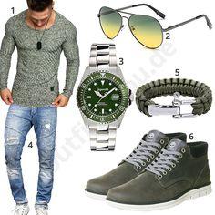 Grünes Herrenoutfit mit Longsleeve, Uhr, Armband und Sonnenbrille (m0963) #longsleeve #grün #uhr #armband #jeans #outfit #style #herrenmode #männermode #fashion #menswear #herren #männer #mode #menstyle #mensfashion #menswear #inspiration #cloth #ootd #herrenoutfit #männeroutfit