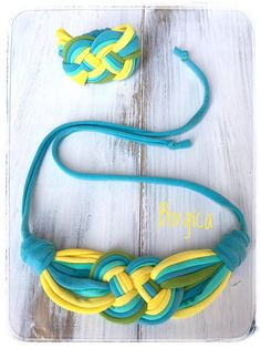 Turquoise yellow summer fabric jewelry set necklace and
