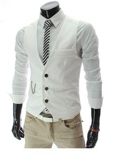 Steampunk idea: Men's Formal Slim Fit Pocket Design Casual Fashion V-neck Vest Coat (white)