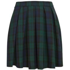 Green Tartan Box Pleat Skater Skirt ($21) ❤ liked on Polyvore featuring skirts, bottoms, plaid, plaid pleated skirt, flared skirt, plaid skirt, knee length skater skirt and green skirt