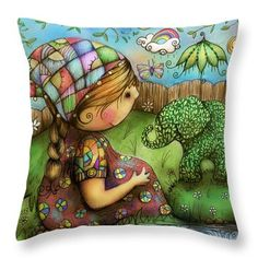 There's An Elephant In My Garden Throw Pillow by Karin Taylor